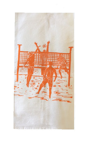 2 Man Volleyball Game Flour Sack Dish Towels-Orange