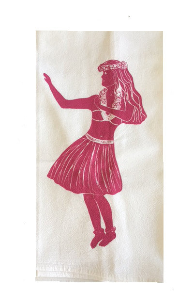 Set of Two Hula Dancer Flour Sack Dish Towels-Pink