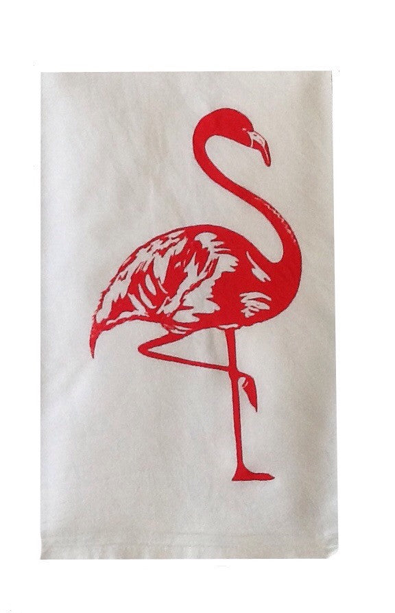 Set of 2 Flour Sack Towels-Melon Flamingo