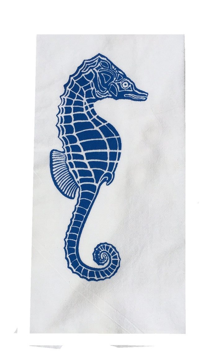 Set of 2 Flour Sack Towels-Marine Blue Sea Horse