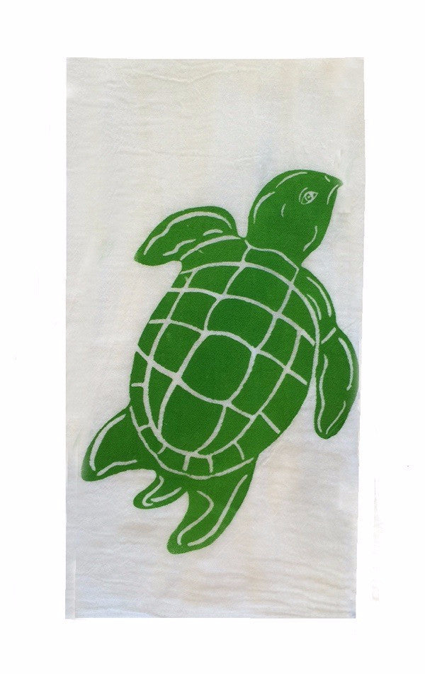 Set of 2 Flour Sack Towels-Green Sea Turtle