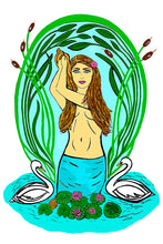 6 Art Note Cards-Art Nouveau Water Nymph