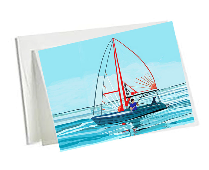 6 Art Note Cards-Sailboat Boy and Seal