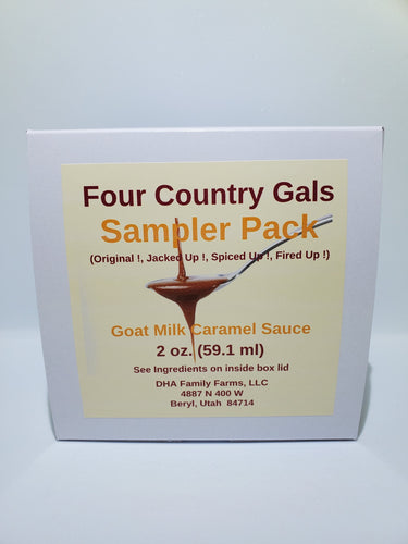Four Country Gals Gift Sampler, 4-2 oz jars of Goat Milk Caramel Sauce - FourCountryGals.com