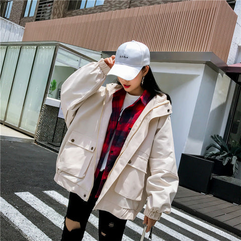 Baseball clothing women's jacket 2021 spring and autumn new college wind student loose jacket short bf Harajuku wind tooling