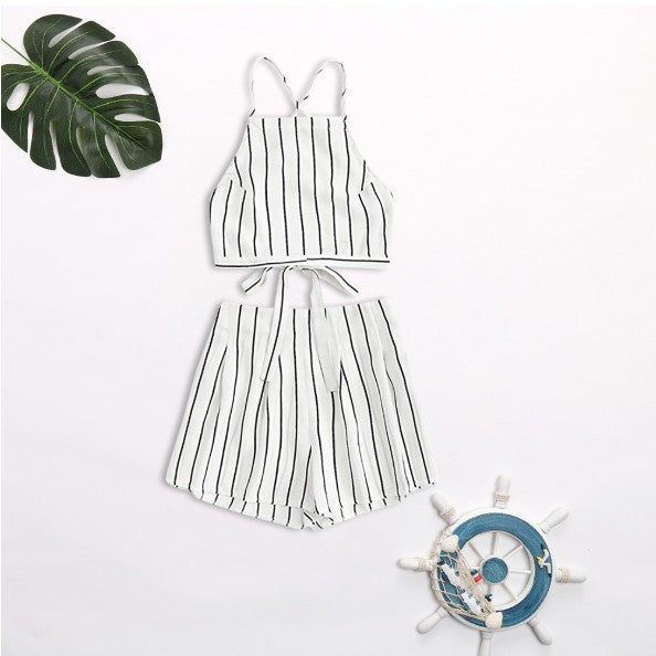Sexy striped strappy backless beach vacation set