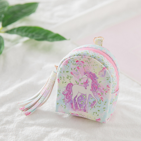 Cartoon cute unicorn child coin purse key bag data cable storage bag