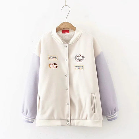 Autumn And Winter Cute And Sweet Student Casual Bear Embroidery Thick Coat Women