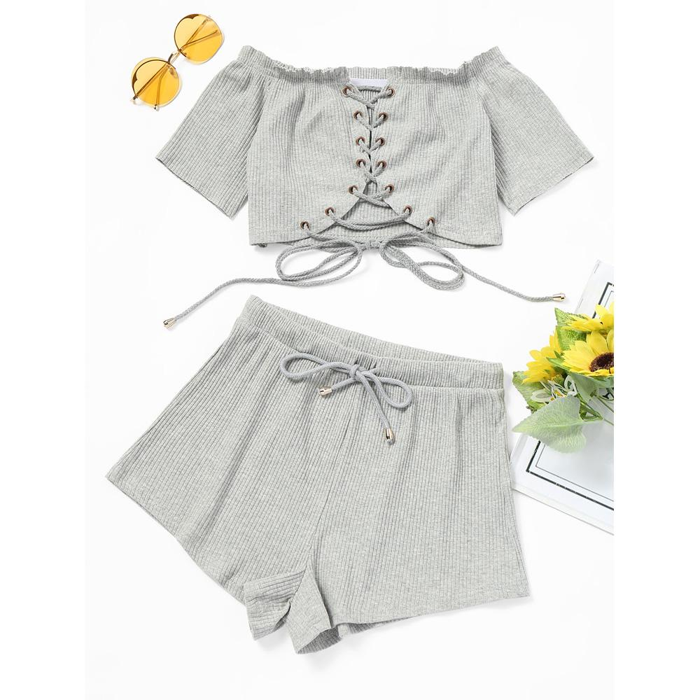 Lace Up Casual Gray Set