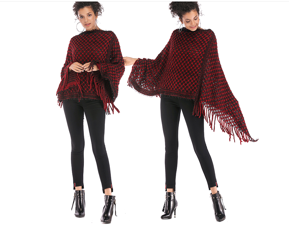 Women's tassel cloak shawl coat houndstooth irregular sweater loose pullover sweater female autumn and winter