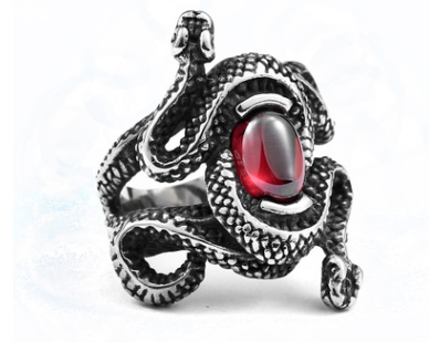 Coiled Snake Stone Ring