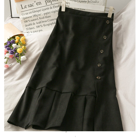Breasted slit - up mid - length skirt
