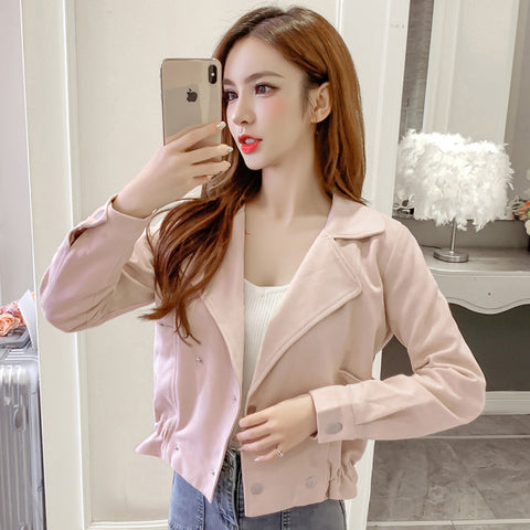 Double breasted waist long sleeve short coat