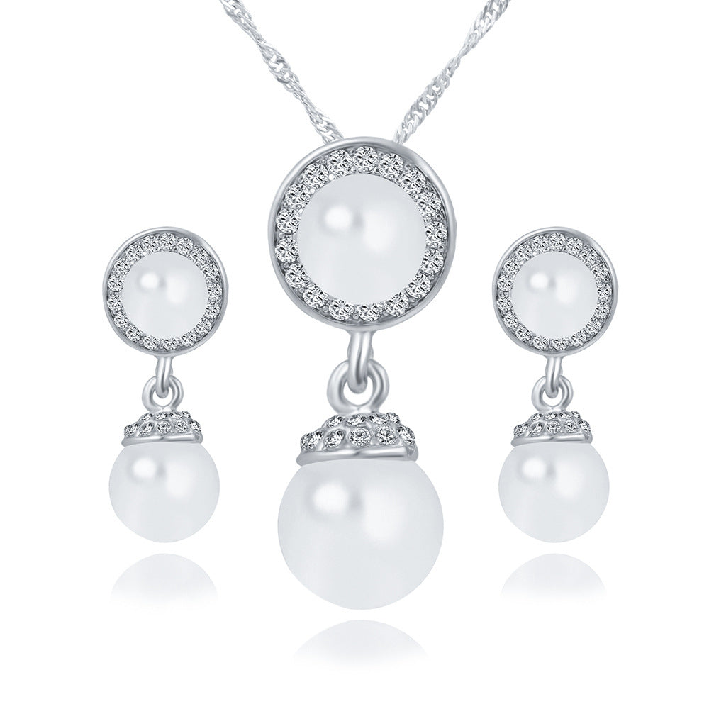 Quick sell explosion, pearl earring, necklace, jewelry set, Korean Edition pearl jewelry, bridal suit jewelry wholesale