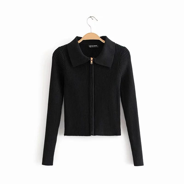 Double-headed zipper short knit sweater Slim short lapel thin coat