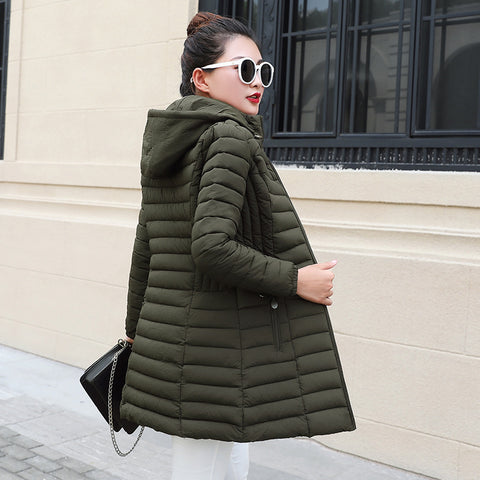 Women's cotton-padded jacket mid-length light and large size