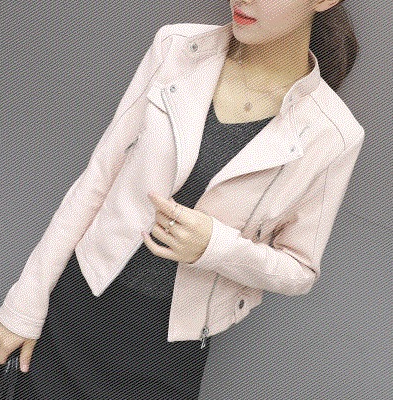 Autumn and winter women's stand collar zipper leather short coat Korean version of pu slim slimming jacket small coat motorcycle suit