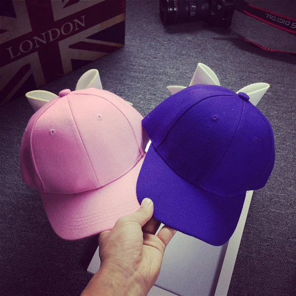 Korean super butterfly baseball cap, spring summer day cotton pure color curved eaves duck tongue hat tide female sunshade cap