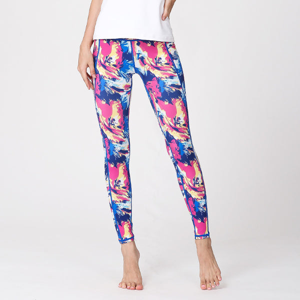 Tie-dye printed yoga pants