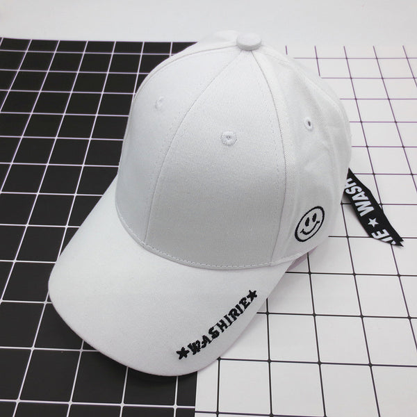 Korean baseball hat embroidery with long face letters all-match zipper sunscreen sun hat peaked cap for men and women