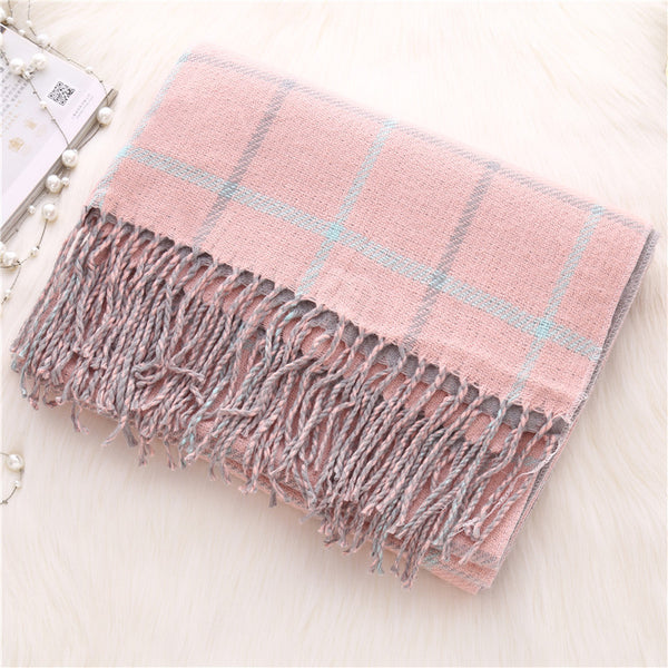 Autumn and winter thick plaid scarf