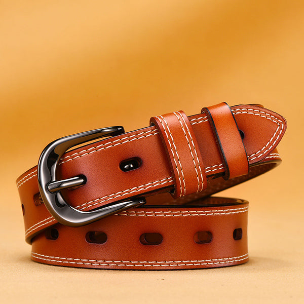 Women's Fine Needle Buckle Versatile Leather Korean Belt