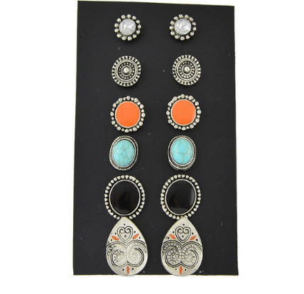 6 Paris/set Ethnic Style Boho Chic Round  Antique Rhinestone Blue Beads Stud Earrings