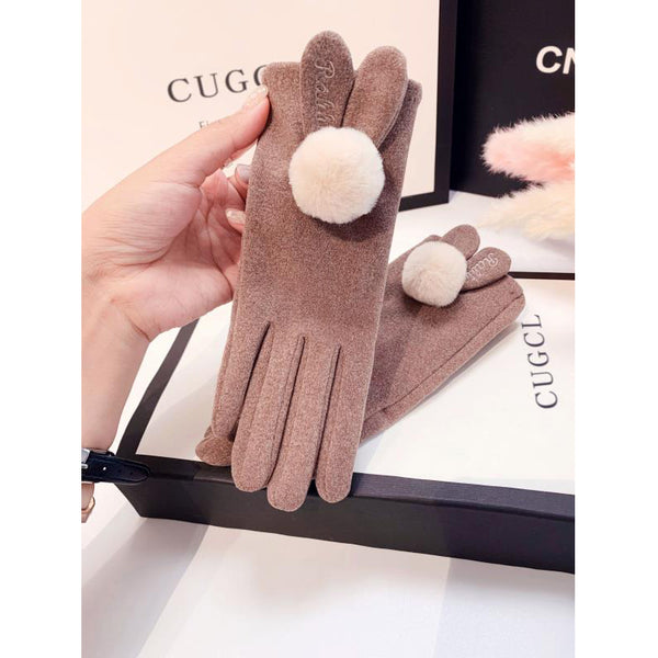 Plush ball thin cycling gloves