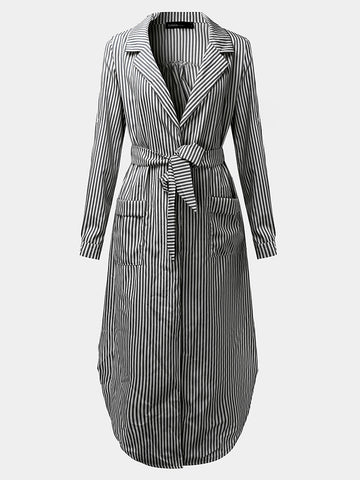 Casual Women Turndown Collar Adjustable Sleeve Side Split Striped Shirt Dresses