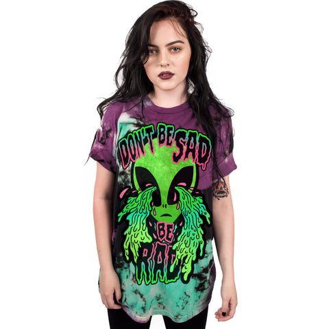 Digital alien crying print T-shirt European and American tide brand women's bottoming shirt