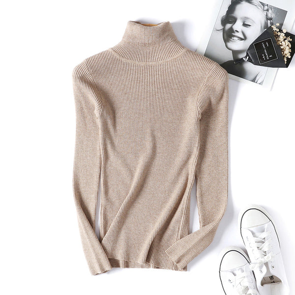 Long-sleeved slim slimming solid color knitted women's bottoming shirt