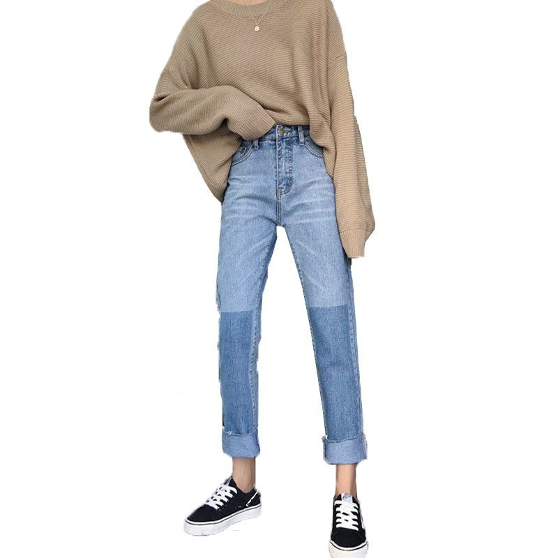 Spring and Autumn New Harajuku Style BF Korean Colorblock Jeans Women High Waist Straight Pants Student Nine Pants Women's Tide