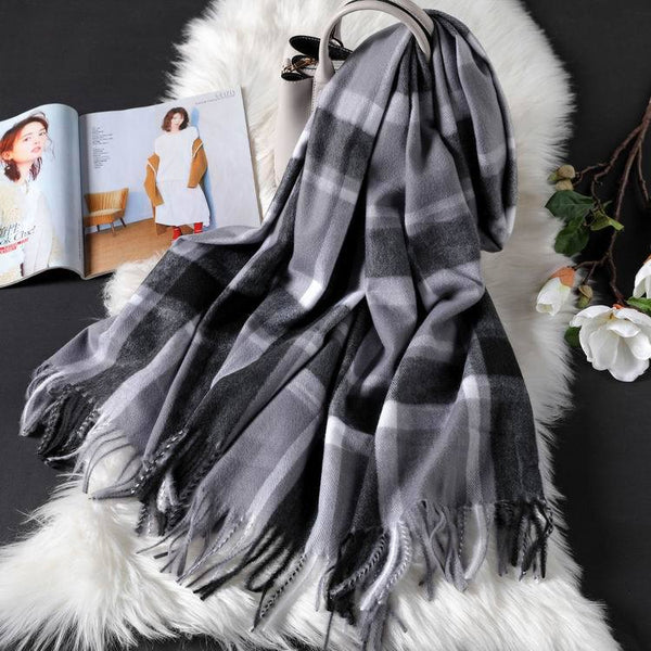 Long tassel double-sided cashmere shawl