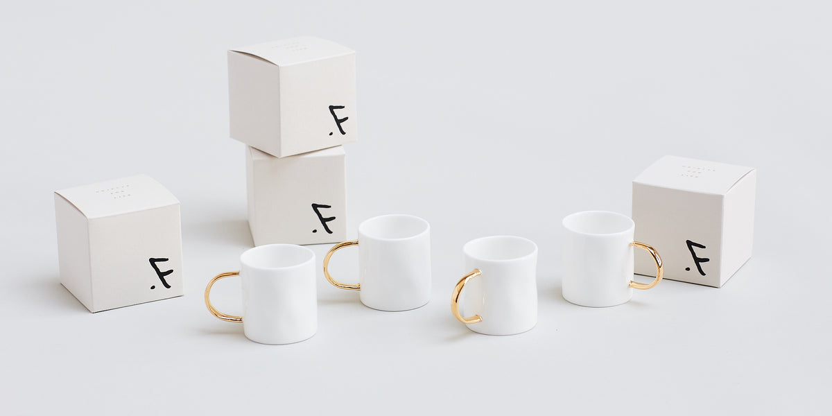 Set of 4 Gold Espresso Mugs