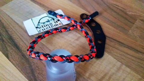 Premade Bow Wrist Sling - Round Braid Weave - Black/Charcoal/Flo Orange/Neon Orange Ninja Warrior