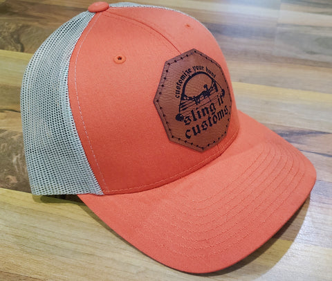 Snapback Hat with SlingIt Customs Leather Patch - Orange/Tan