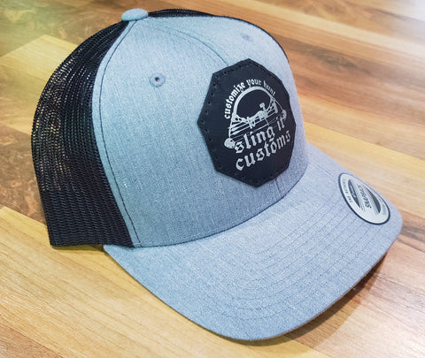 Snapback Hat with SlingIt Customs Leather Patch - Heather Gray/Black