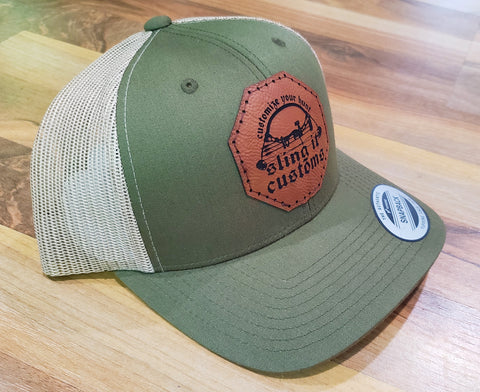 Snapback Hat with SlingIt Customs Leather Patch - Olive Green/Tan