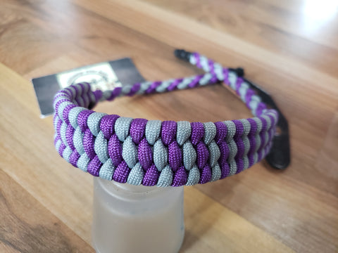 Premade Bow Wrist Sling - Ladder Weave - Acid Purple/Gray