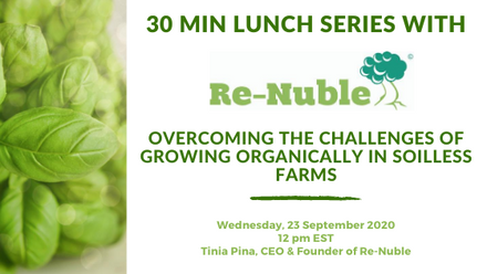 Webinar Re-Nuble regenerative agriculture, food waste, waste management, growing organically