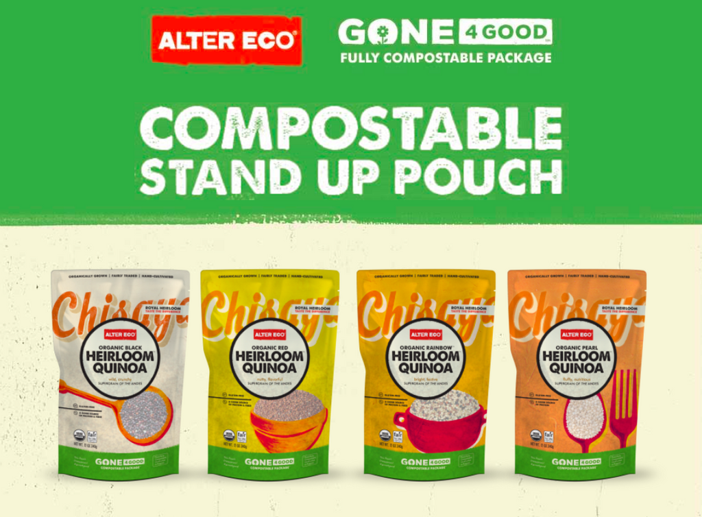 Alter eco laminated stand up compostable pouches