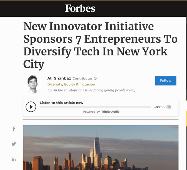 Re-Nuble Forbes, Bank of America, Newlab Innovator Initiative