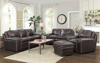 TWO TONE BROWN TOP GRAIN LEATHER BASEBALL STITCHED SOFA & LOVESEAT FURNITURE