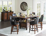 COUNTER HEIGHT BURNISHED DINING TABLE SWIVEL PUB CHAIRS DININGROOM FURNITURE SET