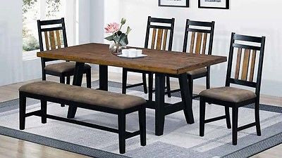 RUSTIC COUNTRY BROWN BLACK SOLID WOOD TABLE CHAIRS & BENCH DINING FURNITURE SET