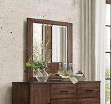 4 PC RUSTIC NATURAL WOOD FINISH KING BED DRESSER MIRROR BEDROOM FURNITURE SET