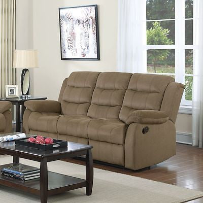 STYLISH TWO TONE TAN VELVET RECLINING MOTION SOFA LIVING ROOM FURNITURE