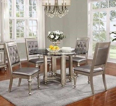 GLAMOROUS 5 PC METALLIC PLATINUM WOOD LEATHERETTE DINING TABLE & CHAIRS SET
