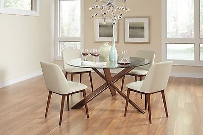 MODERN CHESTNUT WOOD TEMPERED GLASS DINING KITCHEN TABLE & CHAIRS FURNITURE SET