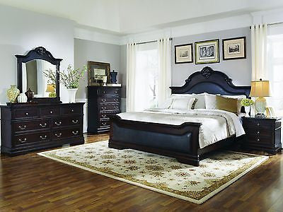 CLASSIC 5 PC DARK CHERRY FAUX LEATHER KING BED N/S DRESSER MIRROR & CHEST